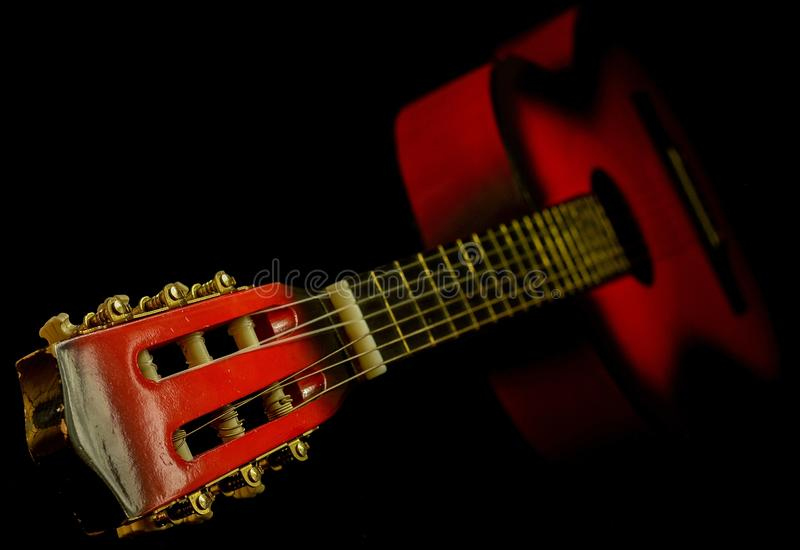 Black and Red Classic Guitar stock images