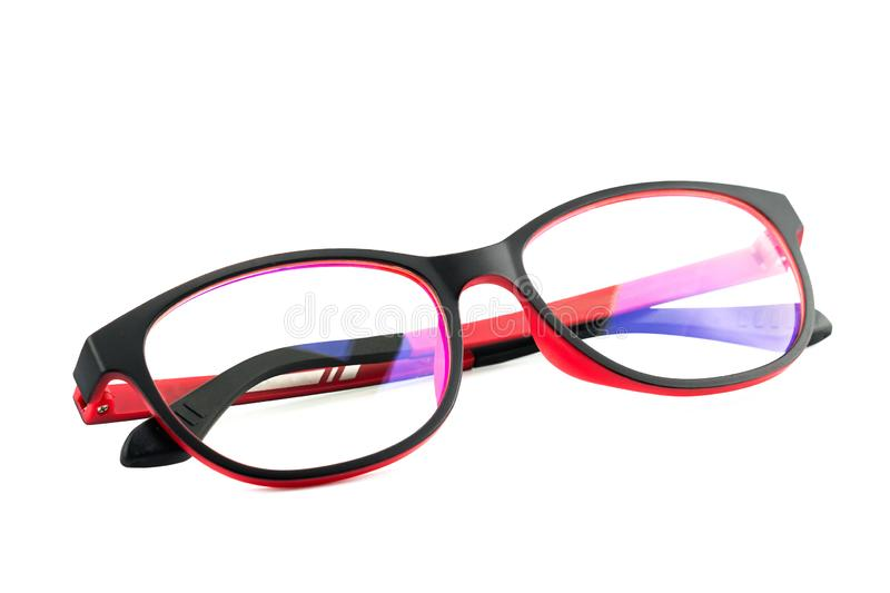 Black Red Eye Glasses Isolated on White stock photography