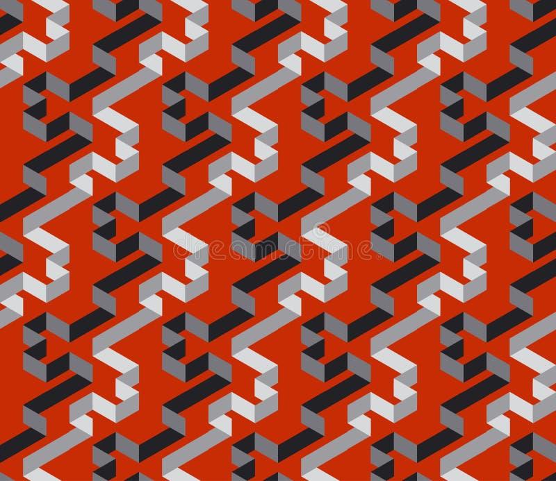 Black and red geometric stripe labyrinth seamless pattern vector illustration