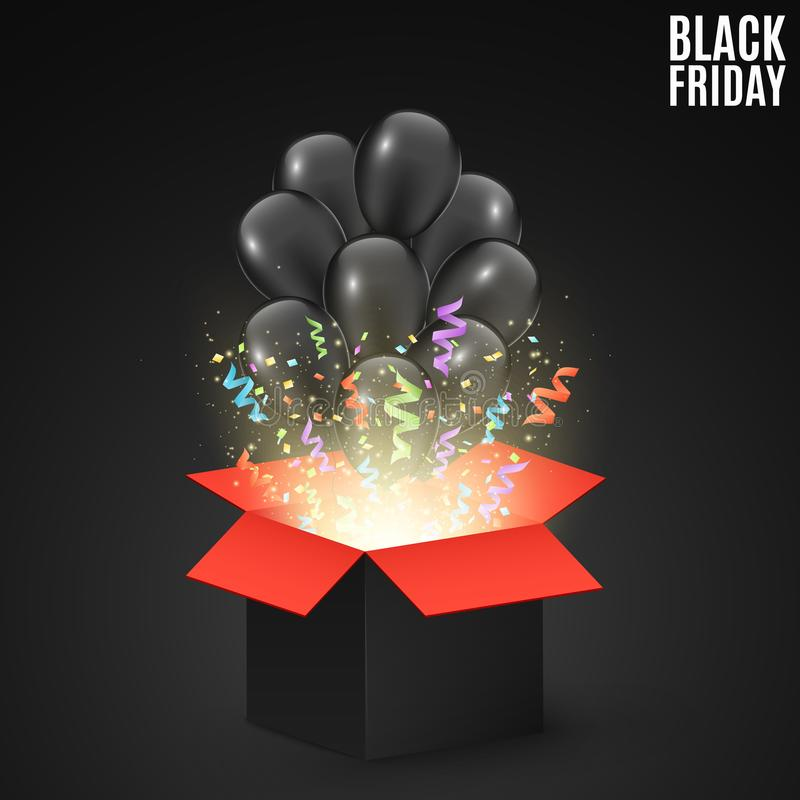 Black red gift box on a dark background with black balloons. Background for sale on a Black Friday. Colorful confetti and ribbons. stock illustration
