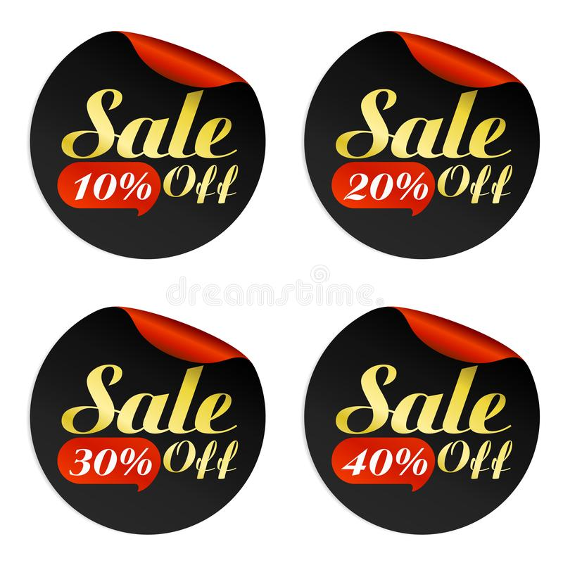 Black, red, gold sale stickers set with bubble 10, 20, 30, 40 percent of. F.Vector illustration royalty free illustration