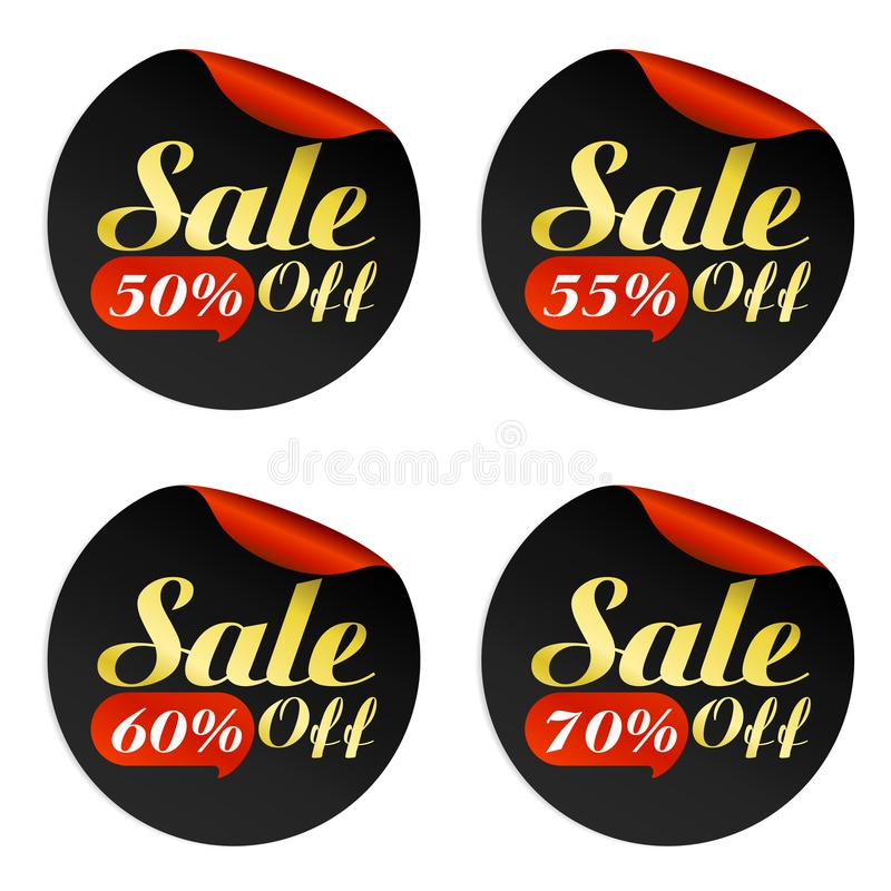 Black, red, gold sale stickers set with bubble 50, 55, 60, 70 percent off. Vector illustration stock illustration