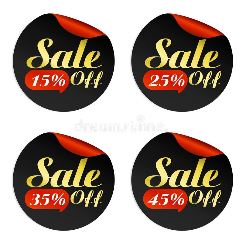 Black, red, gold sale stickers set with bubble 15, 25, 35, 45 percent of. F.Vector illustration vector illustration