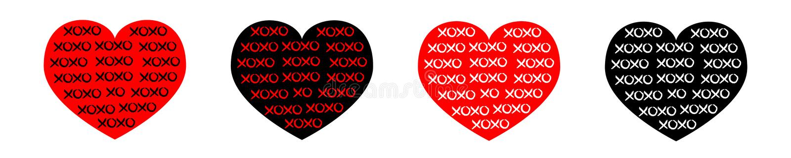 Black, red heart line icon set. Xoxo phrase sketch saying. Hugs and kisses. Happy Valentines day sign symbol. Love greeting card. Cute graphic object. Flat royalty free illustration
