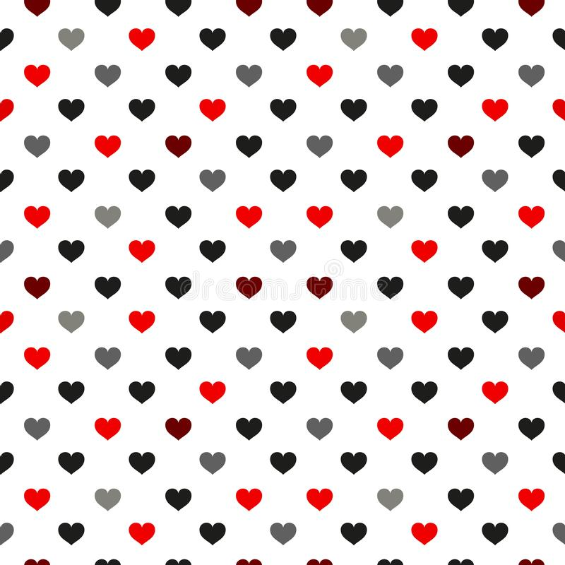 Black and red Heart seamless pattern. Colorful hearts. Packaging design for gift wrap. Abstract geometric modern background. royalty free illustration