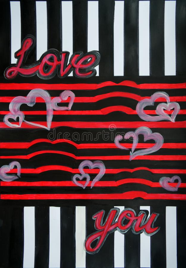 The inscription `I Love You` on a black-and-red background vector illustration