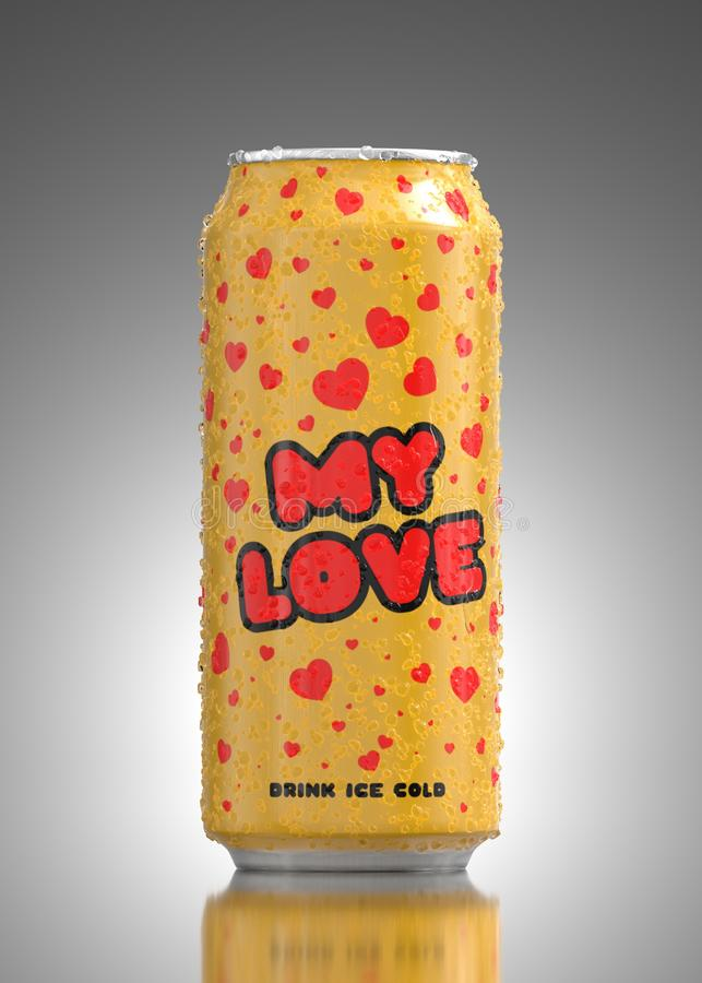 Black-Red Kid Tricycle, VelocipedeYellow Metal Aluminum Beverage Drink Can With Water droplets for valentine day. Yellow Metal Aluminum Beverage Drink Can With royalty free illustration