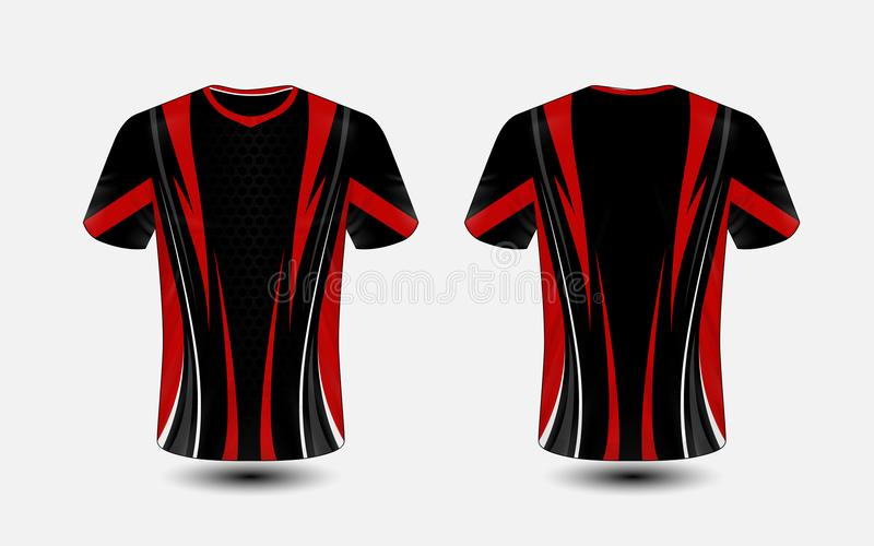 Black and red layout e-sport t-shirt design template. Illustration vector royalty free illustration