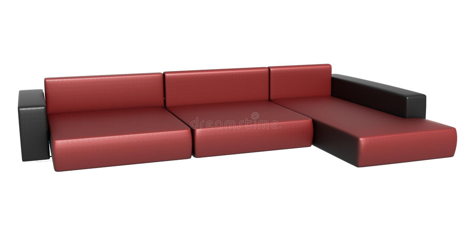 Black, Red Leather Couch royalty free illustration