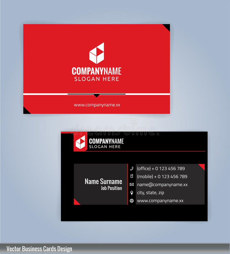 Black and Red Modern creative and clean business card Design template. vector illustration