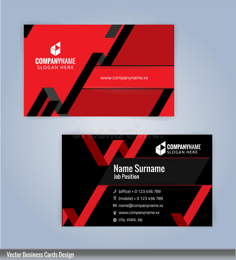 Black And Red Modern Creative And Clean Business Card Design ...