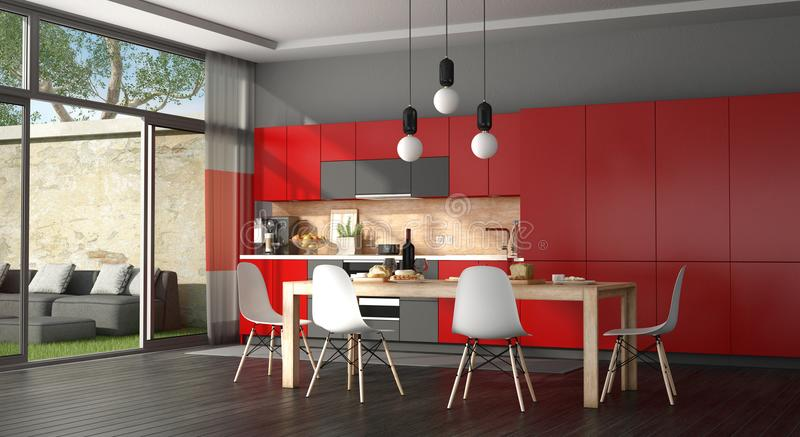 Black and red modern kitchen stock illustration