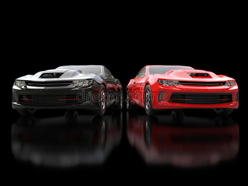 Black And Red Modern Muscle Cars On Black Reflective Background ...