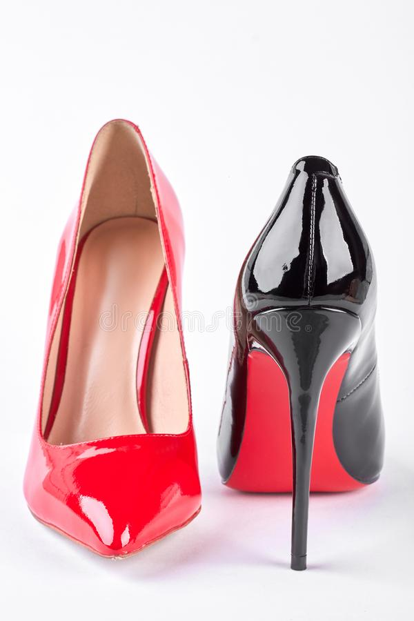Black and red shoes on high heels. stock photo