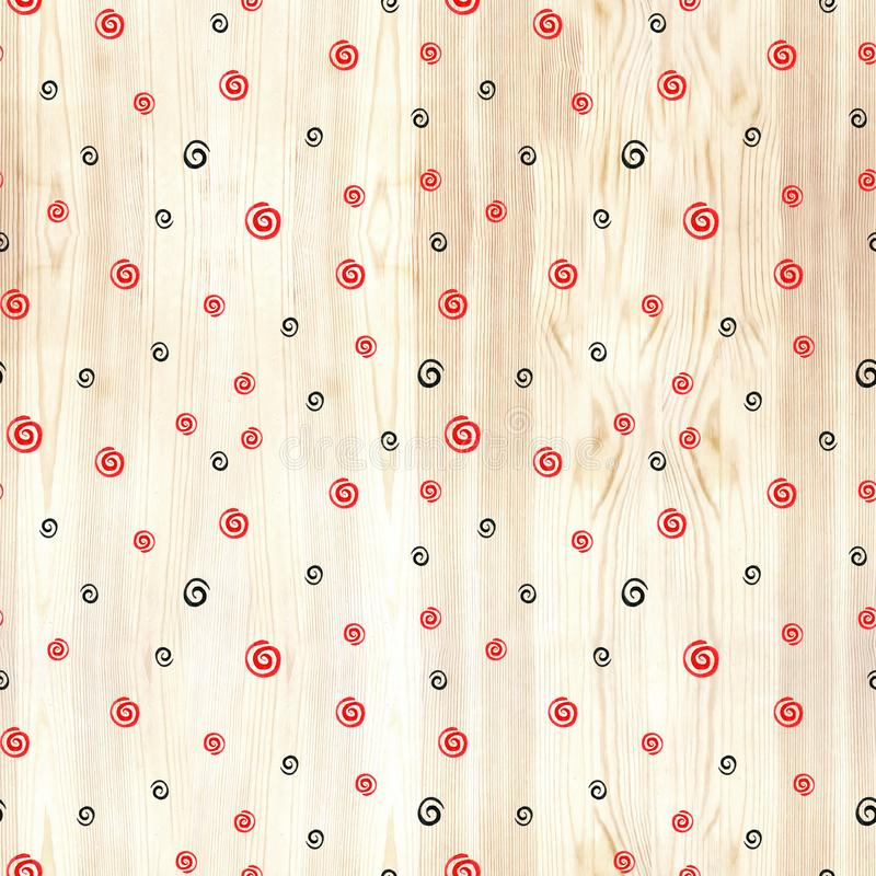 Black and red spiral on wood texture seamless pattern. Black and red line circles on white background. Geometric round stock illustration