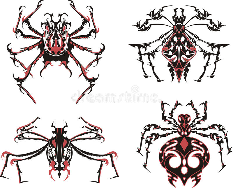 Download Black And Red Symmetric Spider Tattoos Stock Vector - Image: 28651821