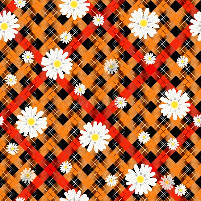 Black and red tartan plaid and daisy flowers pattern on checkered background for textile eps 10 royalty free illustration