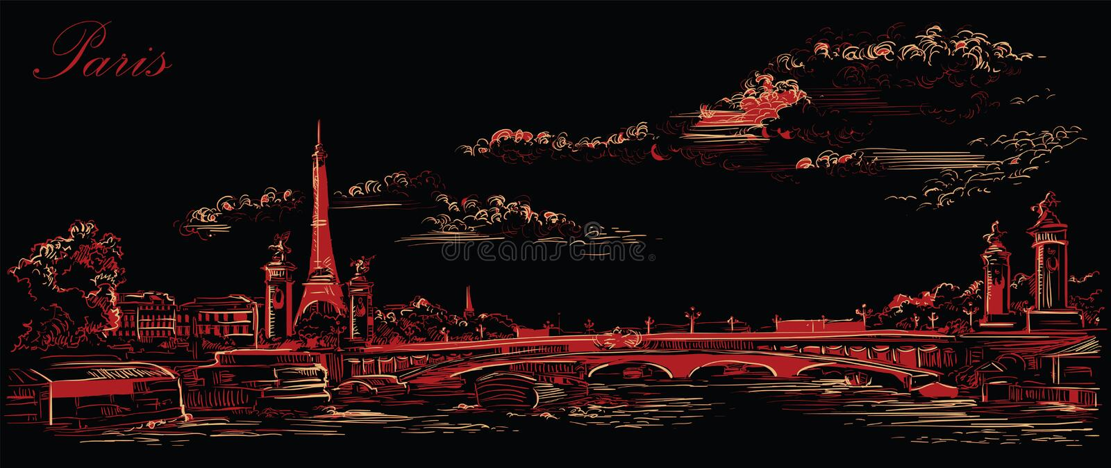 Black and red vector hand drawing Paris 4. Vector hand drawing Illustration of Eiffel Tower Paris, France. Landmark of Paris. Panoramic cityscape with Eiffel stock illustration
