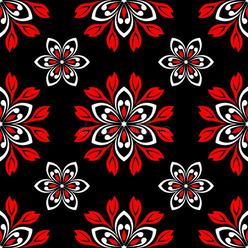 Black red and white flower elements. Seamless background royalty free illustration