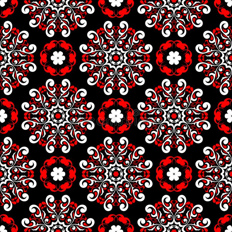 Black red and white flower elements. Seamless background vector illustration