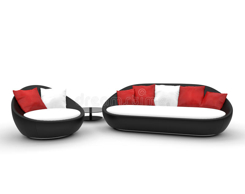 Black Red And White Modern Furniture Stock Photo