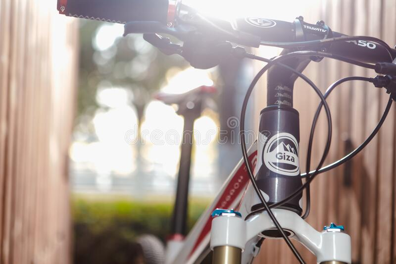 Black Red and White Road Bike stock photo