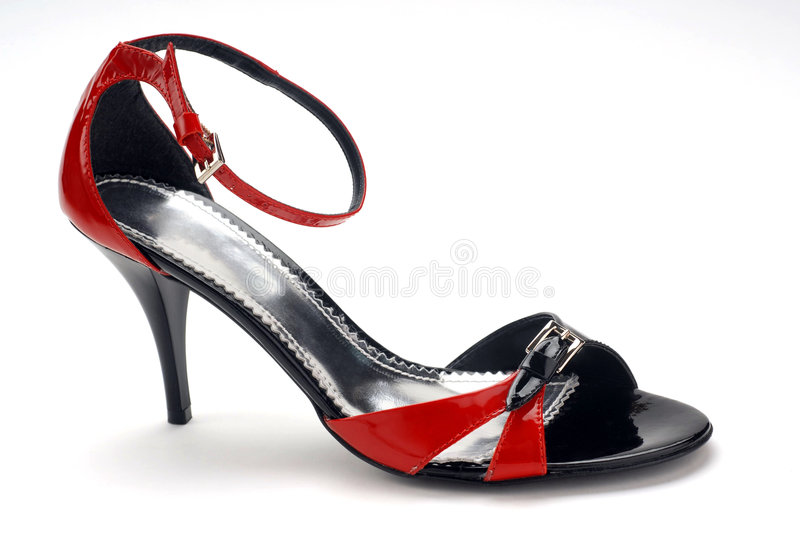 Black and red women shoe stock images