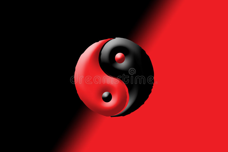 Black and Red Yin and Yang. There is a yin and yang on a black and red background vector illustration