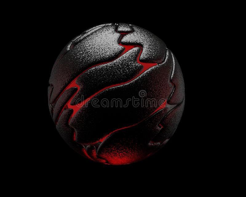 Black reflective sphere, red interior, 3D stock photography