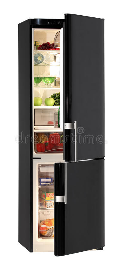 Black refrigerator stock images