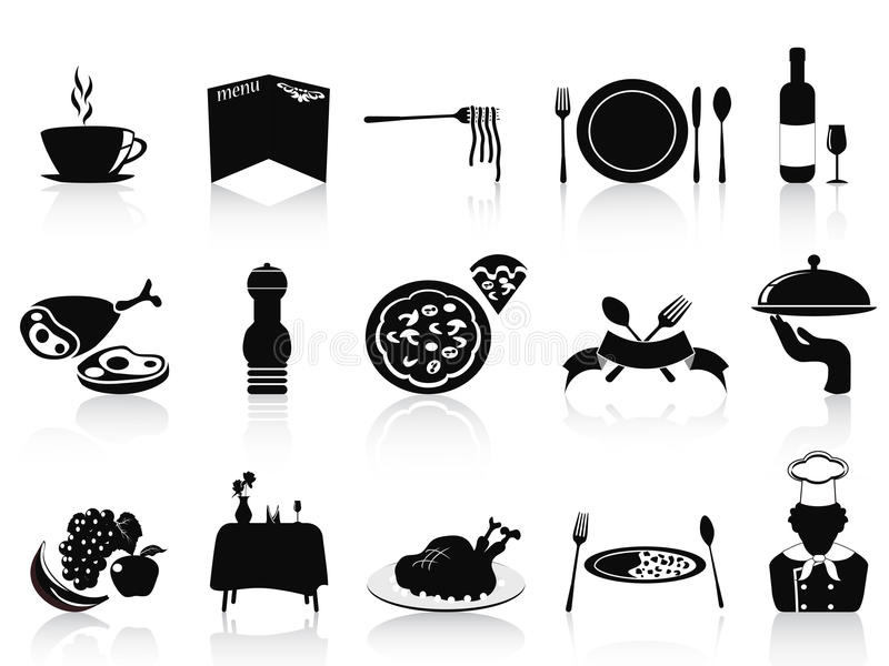 Black restaurant icons set vector illustration