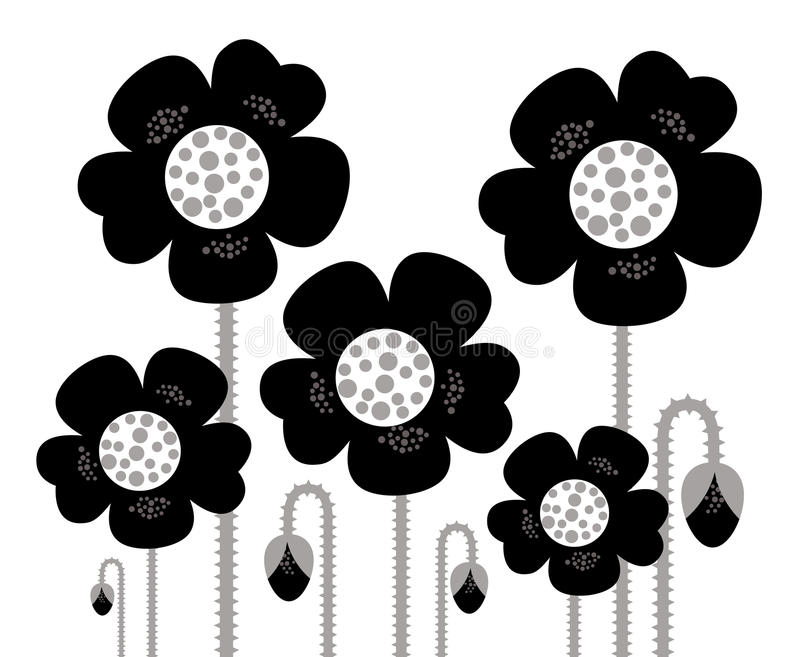 Download Black Retro Flowers Silhouette Background Stock Vector - Illustration of floral, details: 21952975