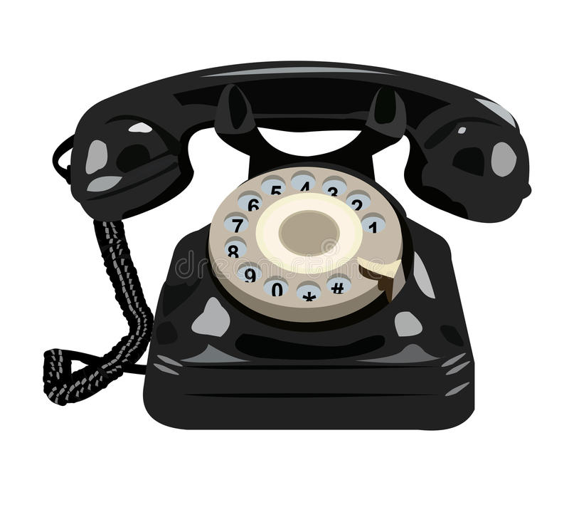 Black retro phone isolated vector illustration