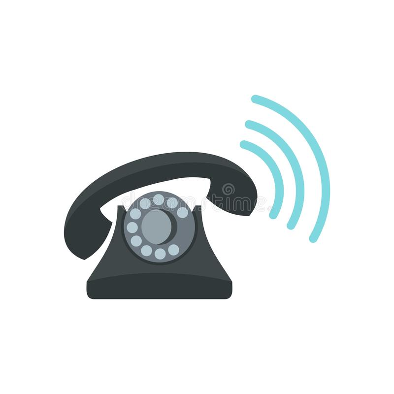 Black retro phone ringing icon, flat style. Black retro phone ringing icon in flat style isolated on white background vector illustration royalty free illustration