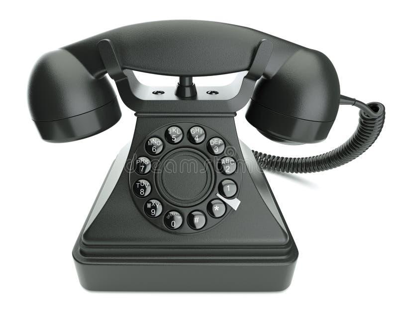 Black retro phone vector illustration