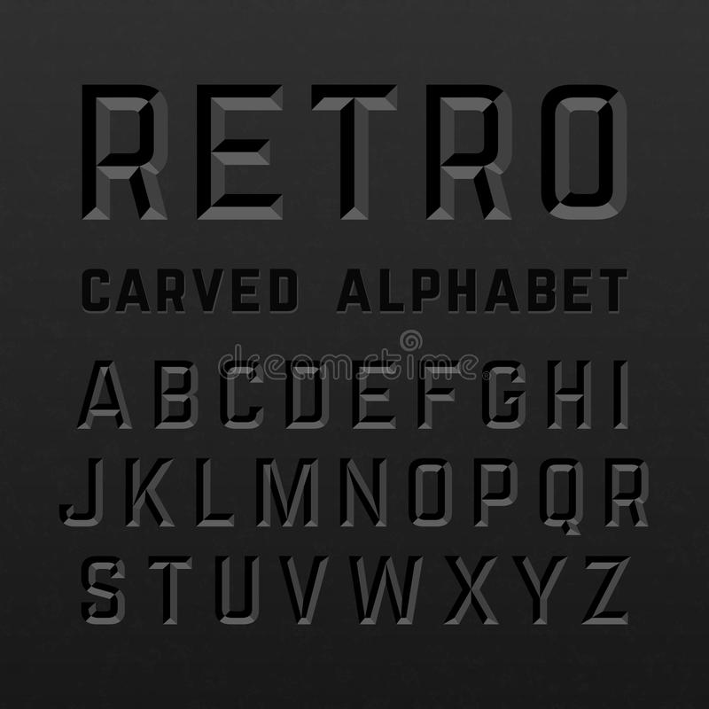 Black retro style carved alphabet. Illustration royalty free illustration