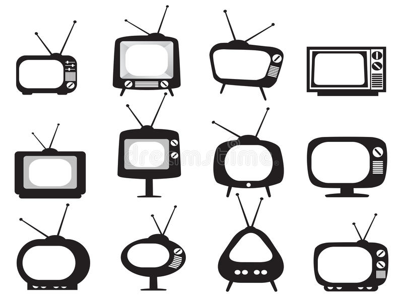 Black retro tv icons set. Isolated black retro tv icons set on white background royalty free illustration