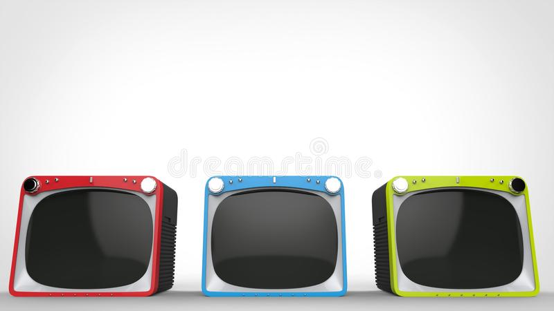 Black retro TV sets with red, blue and green fronts. Isolated on white background stock illustration