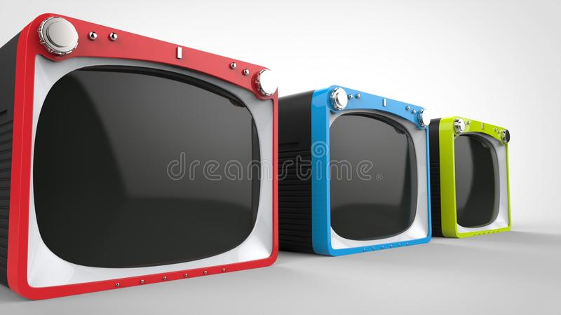 Black retro TV sets with red, blue and green fronts. Closeup shot stock illustration