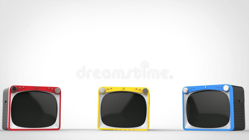 Black retro TV sets with red, blue and yellow fronts. Black retro TV sets with red, blue and yellow front panels vector illustration