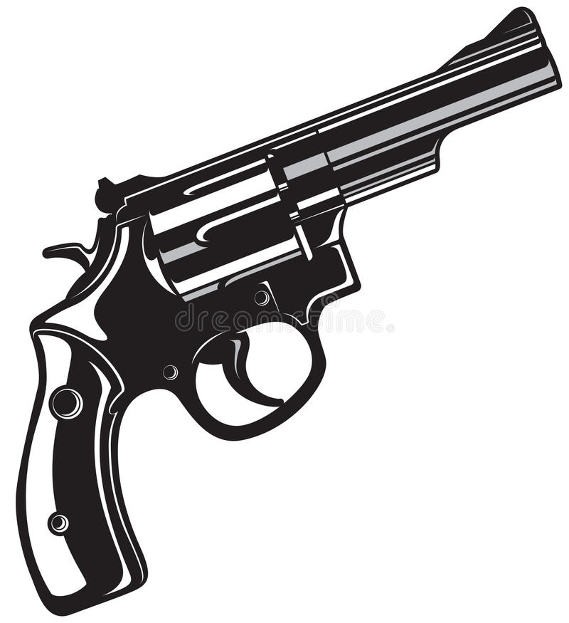 Black Revolver Gun. stock illustration