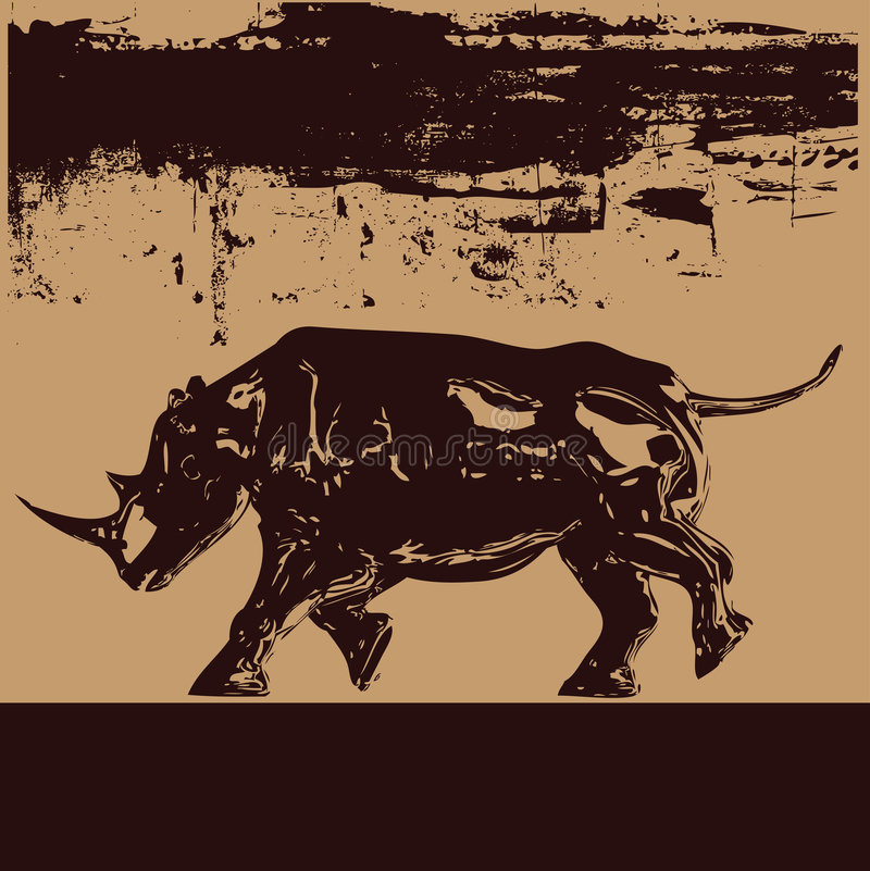 Black Rhino Background royalty free illustration
