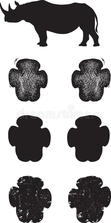 Download Black Rhino Tracks Or Footprints Stock Vector - Image: 30404853