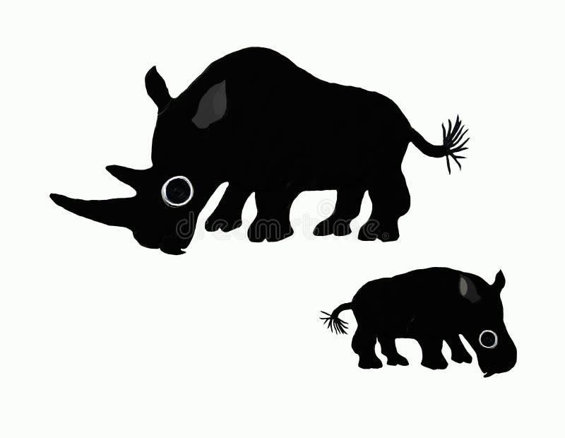 Black rhinos stock photo