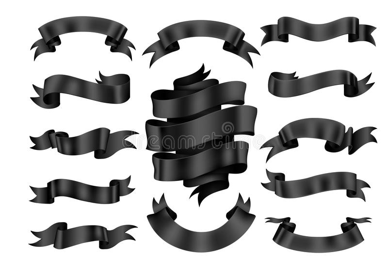 Black ribbon banner set. vector illustration