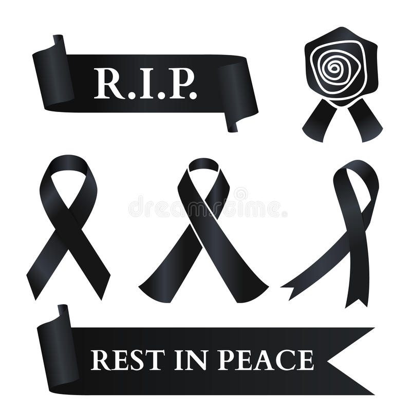 Free Black Ribbon For Rest In Peace R.I.P. Vector Set Design Stock Photography - 98625512