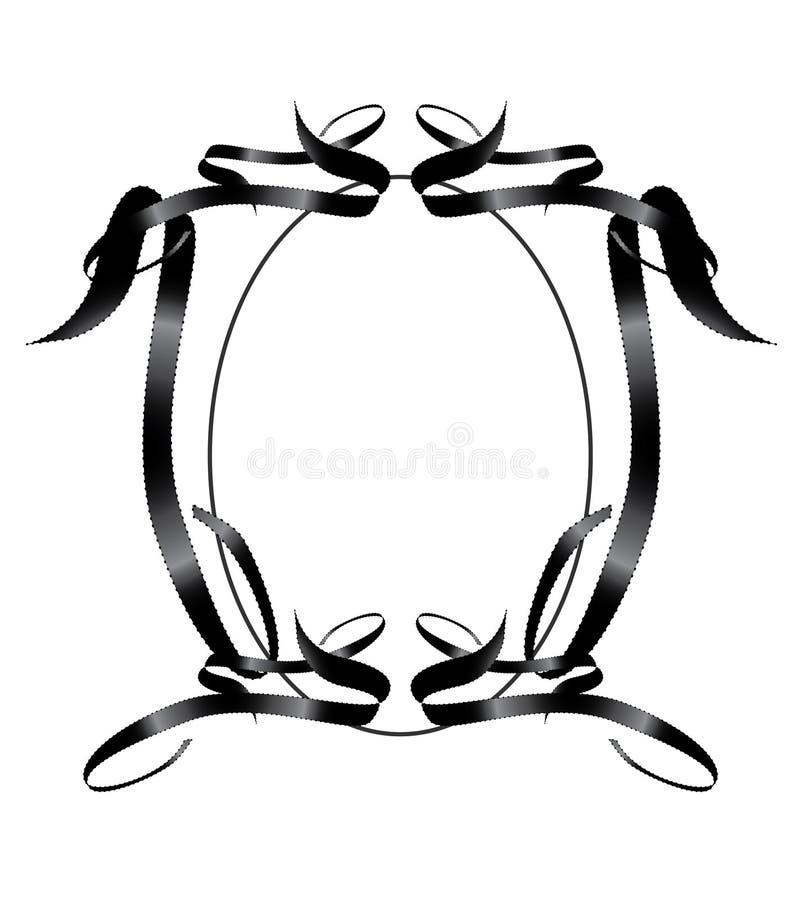 Black Ribbon Frame Element. Abstract black ribbon symmetrical frame element stock illustration