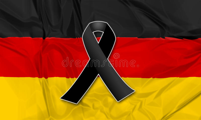 Black ribbon for Germany. Black ribbon on flag of Germany in memory of victims of terrorist attack vector illustration