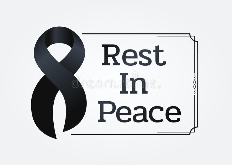 Black ribbon sign and Rest in peace text in line frame for Respect for the funeral vector design royalty free illustration