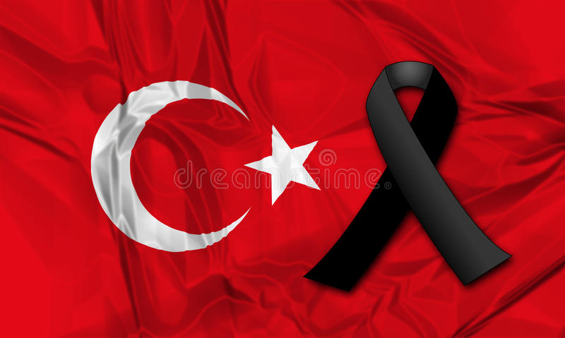 Black ribbon for Turkey. Black ribbon on flag of Turkey in memory of victims of terrorist attack vector illustration